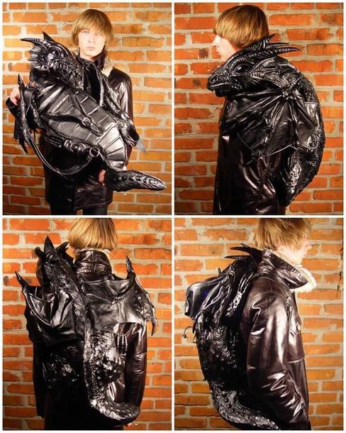 Bag: dragon, backpack, leather, black, 3d - Wheretoget