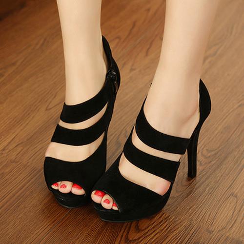 Sexy Round Peep Toe Stiletto High Heels Black Suede Ankle Wrap Sandals_Sandals_Womens Shoes_Cheap Clothes,Cheap Shoes Online,Wholesale Shoes,Clothing On lovelywholesale.com - LovelyWholesale.com