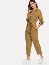 jumpsuit,girly,girl,girly wishlist,one piece,button up,trendy,outfit idea,outfit,khaki,brown,cute