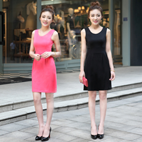 Fashion Cotton 2014 women's summer tank Dress slim sleeveless one-piece dress spring and autumn elegant all-match basic   Amazing Shoes UK