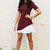 Short Sleeve Flounce Pleated Underlay Dress in Burgundy