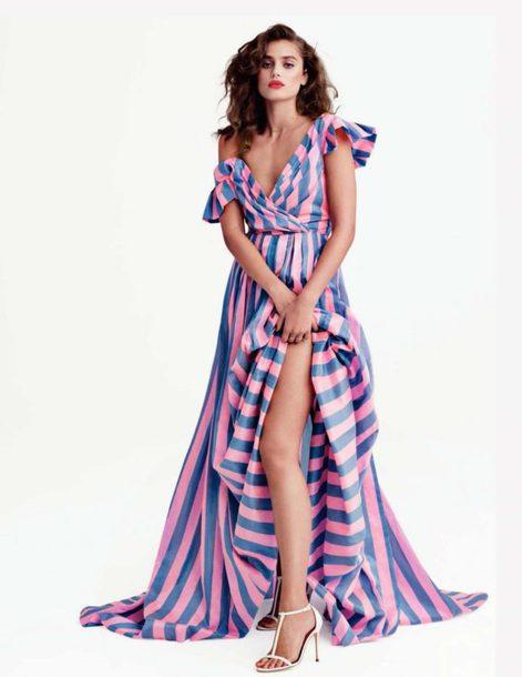 dress stripes striped dress Taylor hill model editorial maxi dress