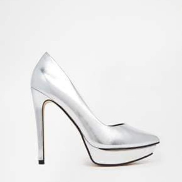 shoes high heels silver platforms silver heels matalic