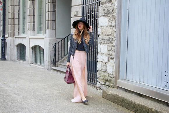 maxi skirt pink skirt jacket blogger bag the boho flow hat