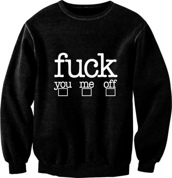 sweater black fuck off