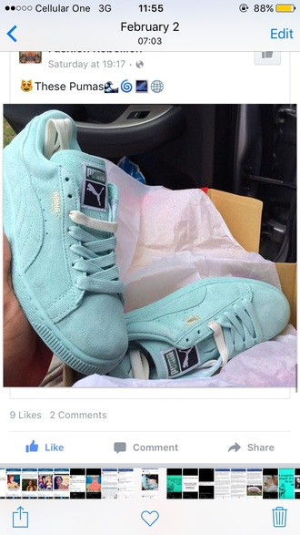 shoes puma light blue suede sneakers