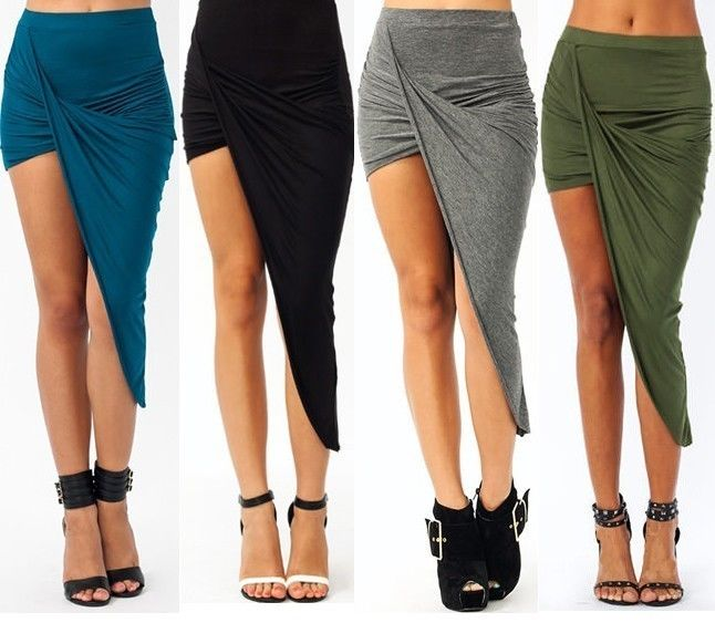Sexy Warp Banded Waist Draped Cut Out Asymmetrical Hi Low Maxi Skirt s M L | eBay