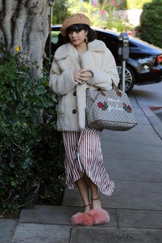 dress stripes striped dress sandals vanessa hudgens fall outfits coat celebrity midi dress shoes jacket