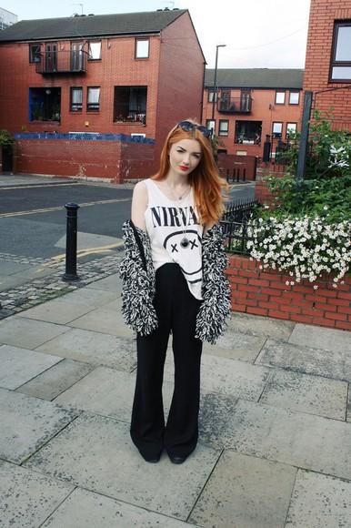 nirvana nirvana t-shirt hannah louise fashion blogger cardigan jacket