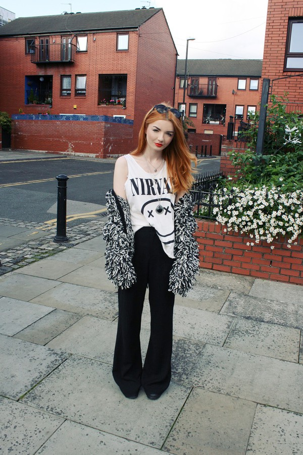 hannah louise fashion blogger cardigan jacket nirvana nirvana t-shirt