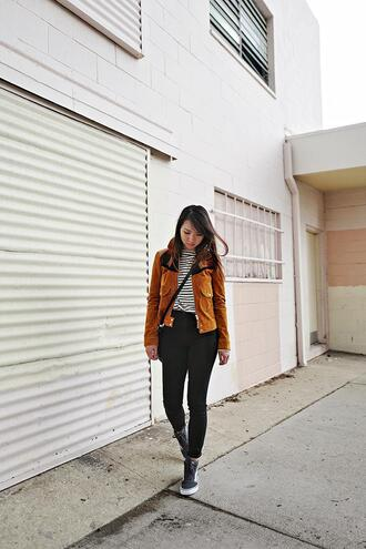 fresh fizzle blogger t-shirt jeans jacket top bag orange jacket crossbody bag striped top black jeans spring outfits