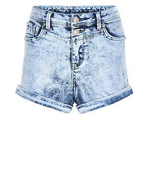 Pale blue denim acid wash high waisted shorts
