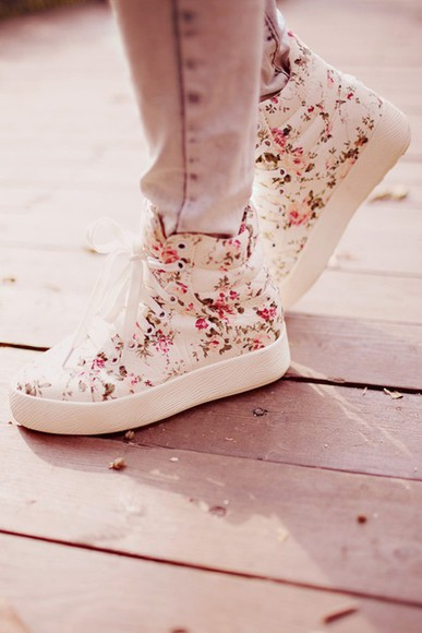high top sneakers converse fabric floral roses