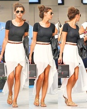 skirt,high low,cute shoes,eleanor calder,shoes,sunglasses,shirt,cutoff shirt,crop tops,black,scoop neck,gladiators,gold,sandals