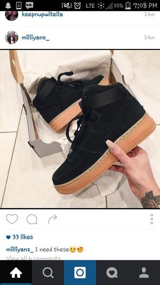 shoes black brown nike nike air nike air force high top sneakers nike sneakers black sneakers