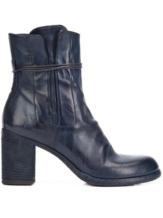 zip women boots ankle boots leather blue shoes