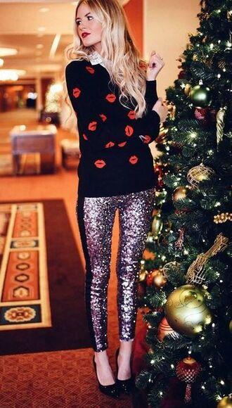 leggings glitter glitter leggings disco leggings sequins sequin leggings pumps sweater holiday season