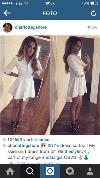 c5b8d530d948 dress shirt charlotte crosby white shirtdress white shirt dress  asymmetrical skater skirt button up dress collared