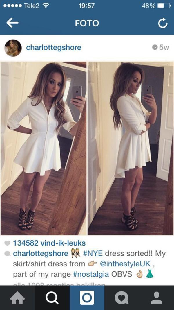 Button up white shirt dress.