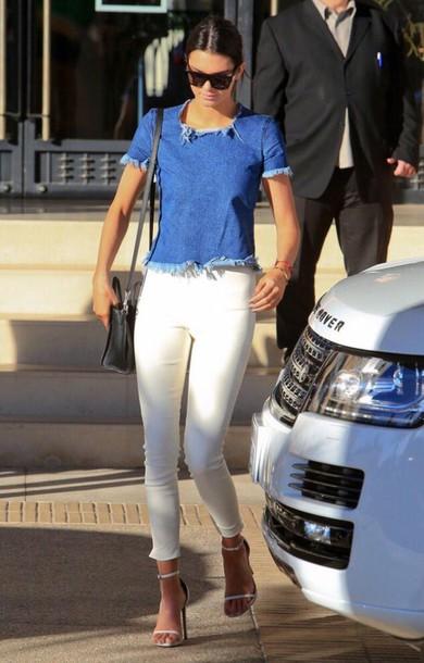 denim kardashians kendall jenner jeans top sunglasses