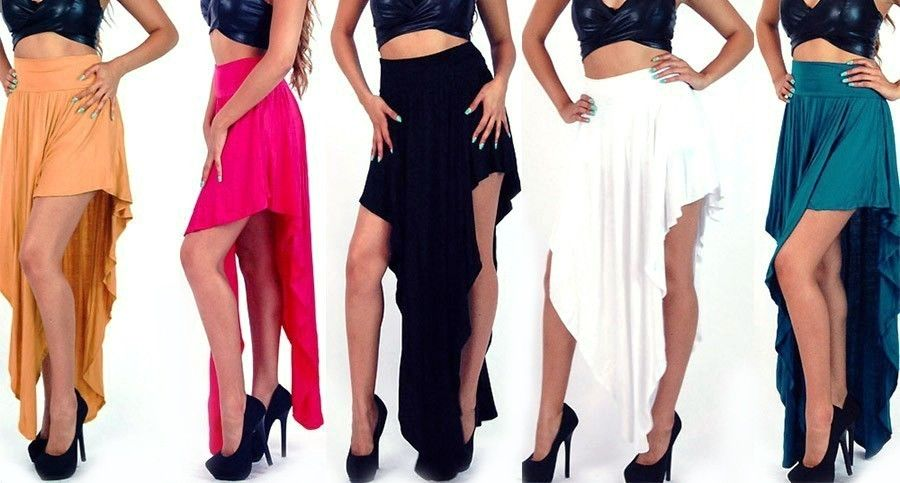 Super popular asymmetrical hem v shaped hi low waterfall maxi skirt s m l s2089