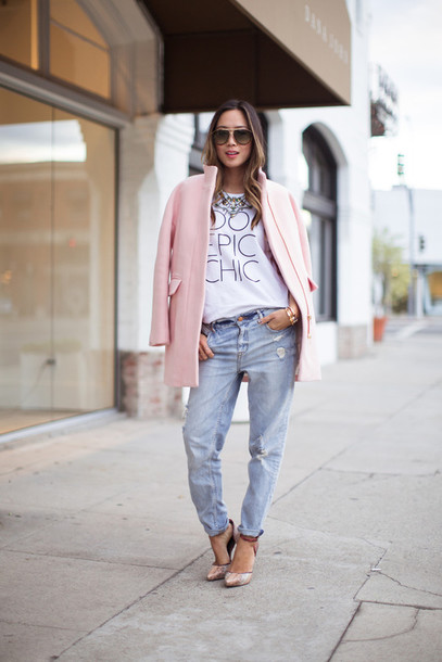 song of style t-shirt coat jeans shoes jewels