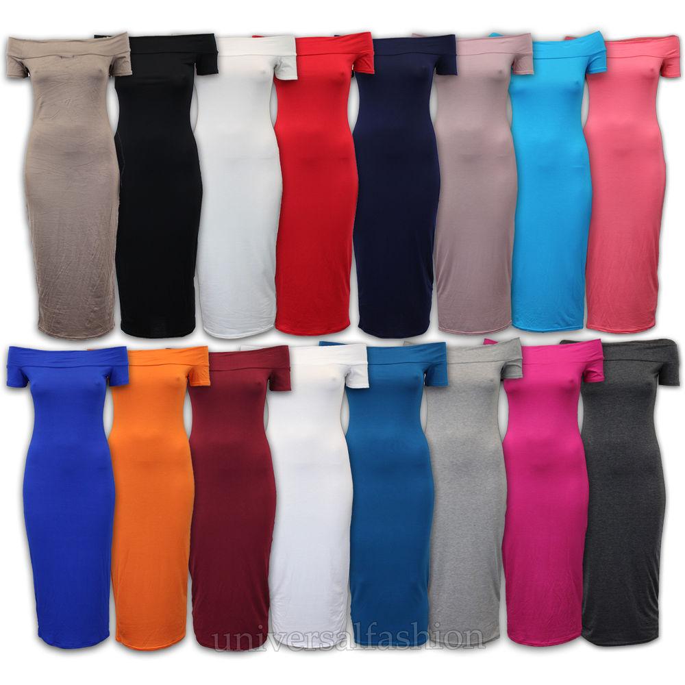 Dress Women Bodycon Bardot Maxi MIDI Off The Shoulder Party Summer New | eBay