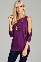 top,plum,purple,cold shoulder,cool shoulder,open shoulder,jersey