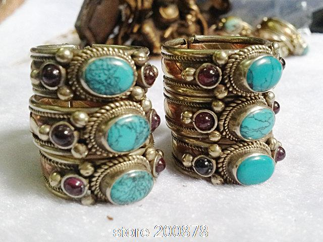 R160 Indian Rose Copper Inlaid Green Turquoise Rings,Tibet Antiqued Vintage open rings girls Rings -in Rings from Jewelry on Aliexpress.com