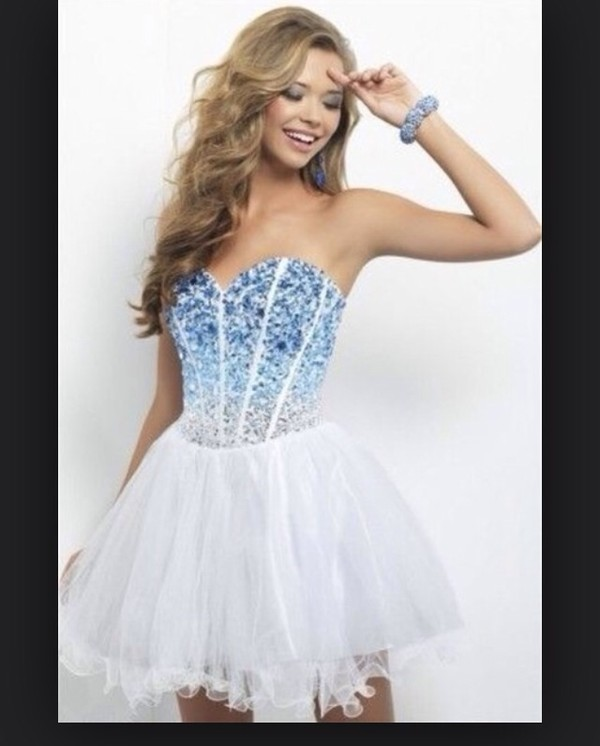 dress cute dress dress white dress sparkle prom dress white short dress pretty cute fabulous homecoming blue and white dress ombre dress diamonds short dress party dress corset dress
