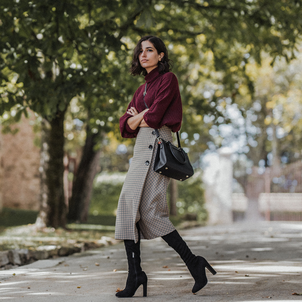 skirt tumblr midi skirt wrap skirt button up bag black bag sweater burgundy burgundy sweater turtleneck turtleneck sweater boots