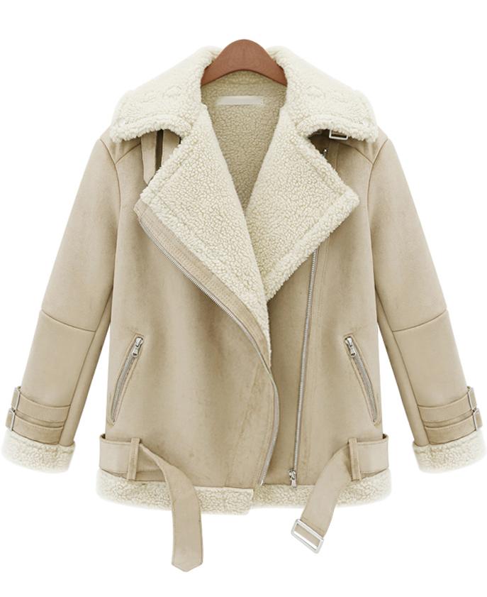 Beige Lapel Long Sleeve Zipper Wool Coat - Sheinside.com