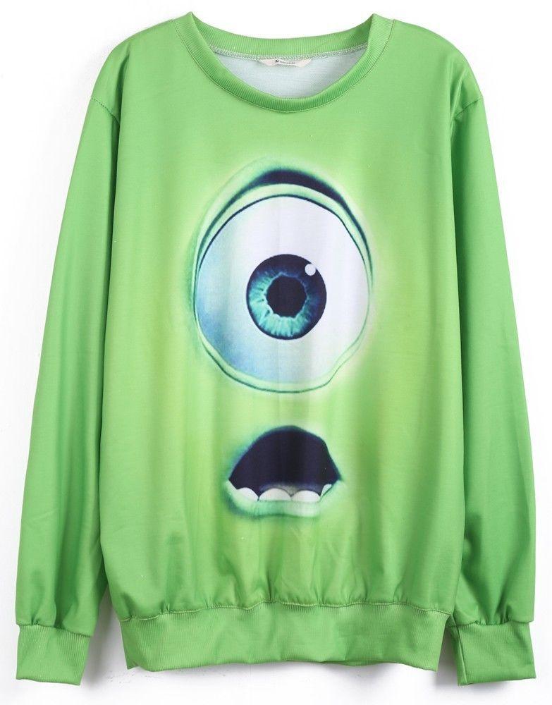 Green Monsters University Print Sweatshirt Women | eBay