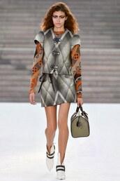 skirt,louis vuitton cruise collection,louis vuitton,mini skirt,printed skirt,jacket,short sleeve,top,printed top,bag,handbag,boots,white boots
