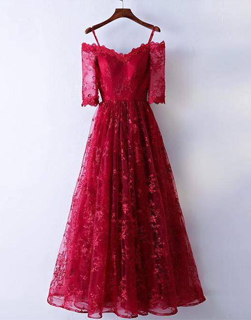Burgundy off shoulder lace long prom dress, burgundy evening dress - 24prom