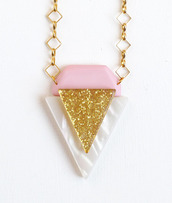 glitter,gold,necklace,pink,white,jewels