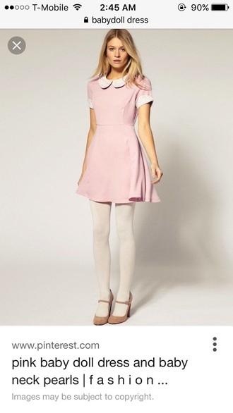 dress collared dress pink dress peter pan collar