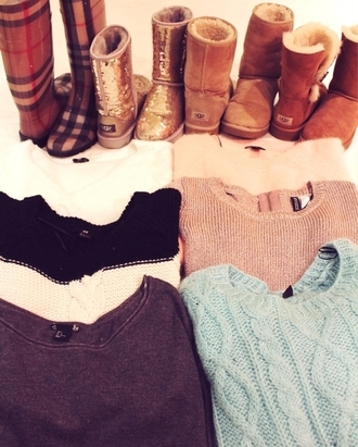 sweater girly light blue shoes fashion jumper ugg boots winter outfits
