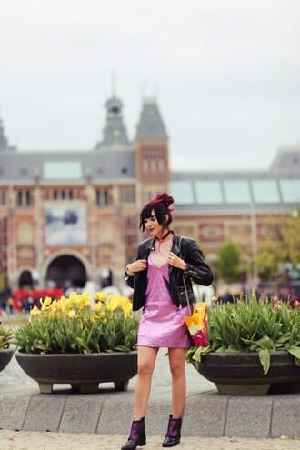 preppy fashionist blogger jacket dress t-shirt shoes bag leather jacket purple dress mini dress ankle boots