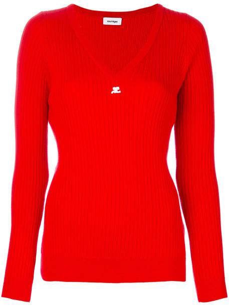 COURRÈGES sweater women cotton red