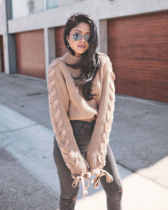 sweater lace up tumblr brown denim jeans blue jeans fall outfits knit knitted sweater sunglasses