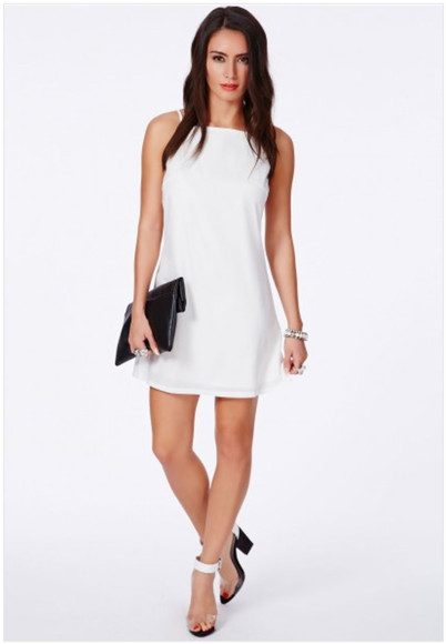 90s style short dress high neck straight dress white dress