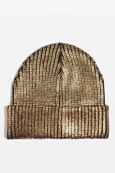 Topshop hat beanie gold
