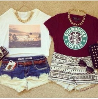 t-shirt crop tops high waisted shorts starbucks coffee dip dye shorts dip dyed beach skyline shape aztec shorts