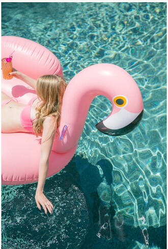 home accessory flamingo pink bikini summer spring ss16 fashion pool bikini top