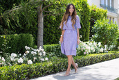 vanessa balli,blogger,shoes,jewels,purple dress,gold shoes,stilettos,two piece dress set,purple