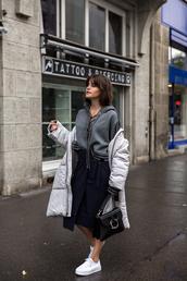 the fashion fraction,blogger,jacket,sweater,skirt,bag,shoes,lace up jumper,grey coat,sneakers,shoulder bag,JW Anderson bag