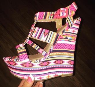shoes aztec wedges pink