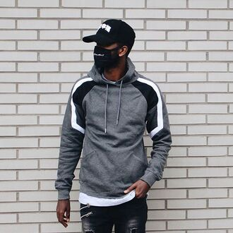 sweater maniere de voir grey hoody colour block casual fashion trendy