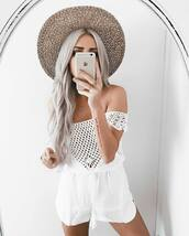 top,shorts,tatto,tumblr,white top,off the shoulder top,off the shoulder,crochet,crochet top,white shorts,necklace,crescent pendant,long hair,hair,platinum hair,hat,summer outfits,ring,gold ring,jewels,gold necklace,gold jewelry,jewelry